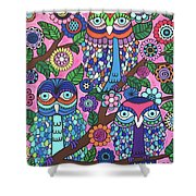 3 Owls Shower Curtain