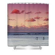 Paddlers At Sunset Shower Curtain