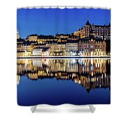 Perfect Sodermalm And Mariaberget Blue Hour Reflection Shower Curtain