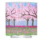 Pink Garden, Oil Painting Shower Curtain
