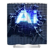 Pixel Artificial Intelligence Shower Curtain
