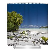 Polynesian Beach With Palms Shower Curtain