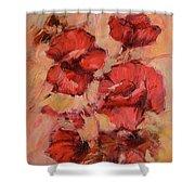 Poppy Flowers Handmade Oil Painting On Canvas Shower Curtain