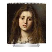 Portrait Of A Young Girl Alexei Alexeivich Harlamoff Shower Curtain