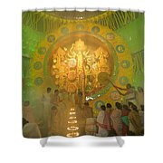 Priest Praying To Goddess Durga Durga Puja Festival Kolkata India Shower Curtain