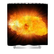 Realistic Fire Explosion, Orange Blast With Sparks Isolated On Black Background Shower Curtain