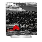 Red Barn In Wyoming Shower Curtain