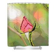 Red Garden Rose Bud Shower Curtain