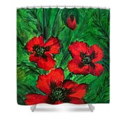 3 Red Poppies Shower Curtain