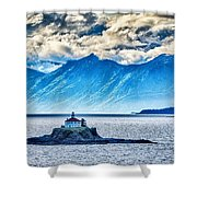 Remote Lighthouse Island Standing In The Middle Of Mud Bay Alask Shower Curtain