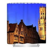 River Dijver And The Belfort At Night, Rozenhoedkaai, Bruges Shower Curtain