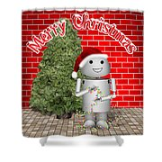 Robo-x9 Wishes A Merry Christmas Shower Curtain