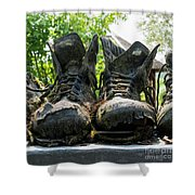 Row Of Old Leather Worn Out Shoes  Shower Curtain