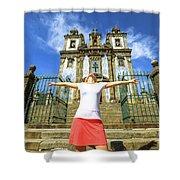 Saint Ildefonso Church Enjoying Shower Curtain