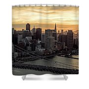 San Francisco City Skyline At Sunset Aerial Shower Curtain