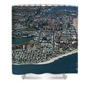 Seagate And Brighton Beach In Brooklyn Aerial Photo Shower Curtain