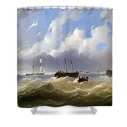 Ships On A Stormy Sea Shower Curtain