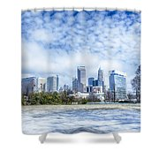 Snow And Ice Covered City And Streets Of Charlotte Nc Usa Shower Curtain