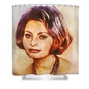 Sophia Loren, Vintage Hollywood Actress Shower Curtain