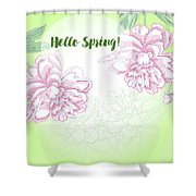 Spring  Background With White And Pink Peony Shower Curtain
