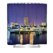 St Petersburg Florida City Skyline And Waterfront At Night Shower Curtain