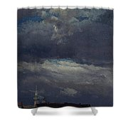 Stormclouds Over The Castle Tower In Dresden  Shower Curtain