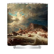 Stormy Sea With Ship Wreck Shower Curtain