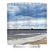 Stormy Seascape - Lyme Regis Shower Curtain