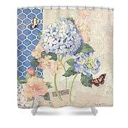 Summer Memories - Blue Hydrangea N Butterflies Shower Curtain