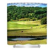 Summer Morning Hay Field Shower Curtain