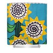 3 Sunflowers Shower Curtain
