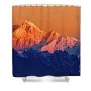 Sunrise On Mount Kanchenjugha At Dawn Sikkim Shower Curtain