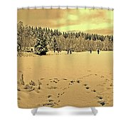 Sunset At Winter Lake Shower Curtain