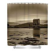 Sunset Over Castle Stalker,  Scotland, United Kingdom Shower Curtain