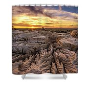 Sunset Over Walls Of China In Mungo National Park, Australia Shower Curtain