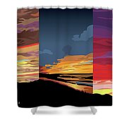 3 Sunsets Shower Curtain