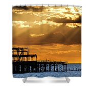 The West Pier In Brighton At Sunset Shower Curtain