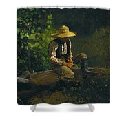 The Whittling Boy Shower Curtain