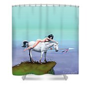 3 The Woman In The Pond Shower Curtain