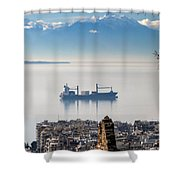 Thessaloniki With View Of Olympus Shower Curtain