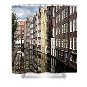 Traditional Canal Houses In Amsterdam. Netherlands. Europe Shower Curtain