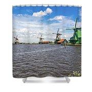 Traditional Dutch Windmills At Zaanse Schans, Amsterdam Shower Curtain