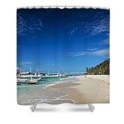 Traditional Filipino Ferry Taxi Tour Boats Puka Beach Boracay Ph Shower Curtain