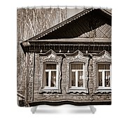 Traditional Old Russian House Facade Shower Curtain