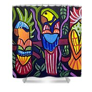 3 Tropical Birds Shower Curtain