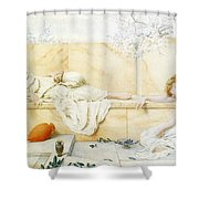 Two Classical Figures Reclining Henry Ryland Shower Curtain