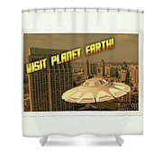 Ufo Postcards Home By Raphael Terra Shower Curtain