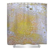 3. V2 Yellow And White Bubble Glaze Painting Shower Curtain
