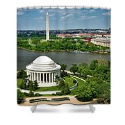 View Of The Jefferson Memorial And Washington Monument Shower Curtain