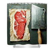 Vintage Cleaver And Raw Beef Steak Shower Curtain